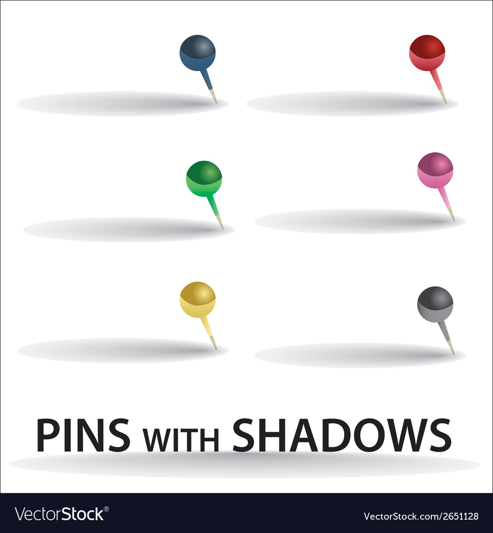 Color pins with shadow eps10 vector | Price: 1 Credit (USD $1)
