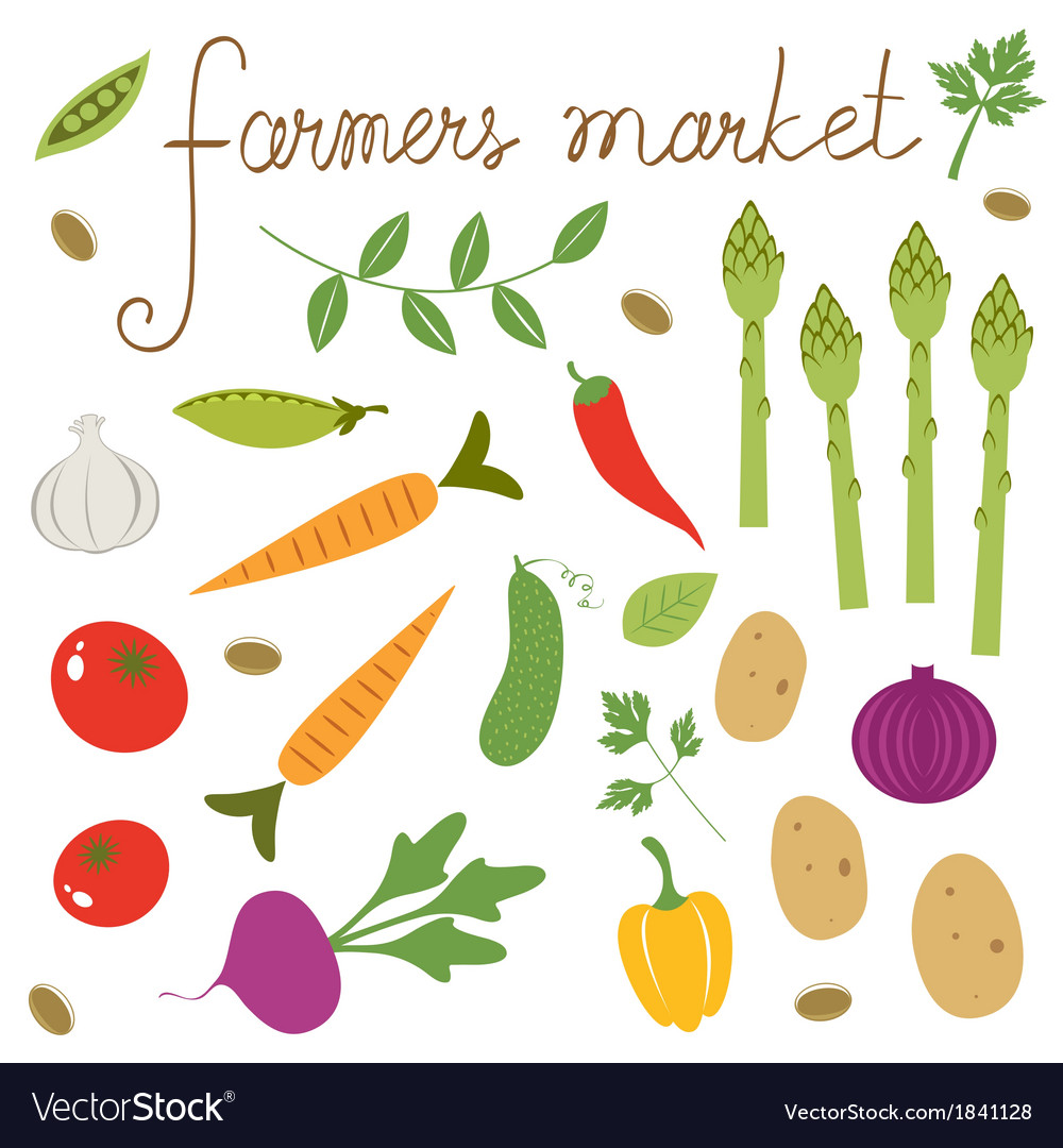 Farmers market set vector | Price: 1 Credit (USD $1)