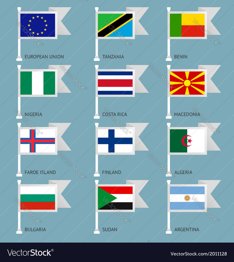 Flags set four-03 vector | Price: 1 Credit (USD $1)