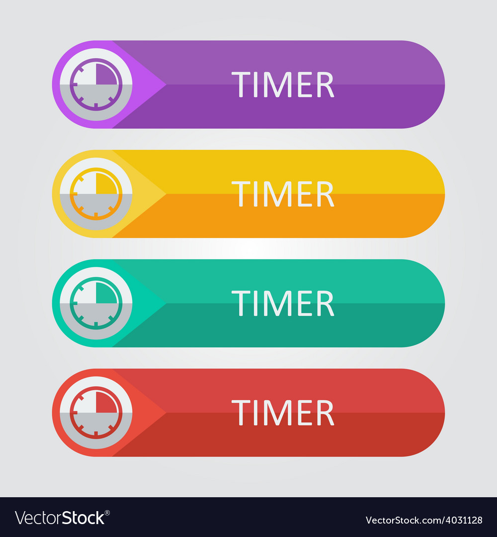 Flat buttons timer vector | Price: 1 Credit (USD $1)