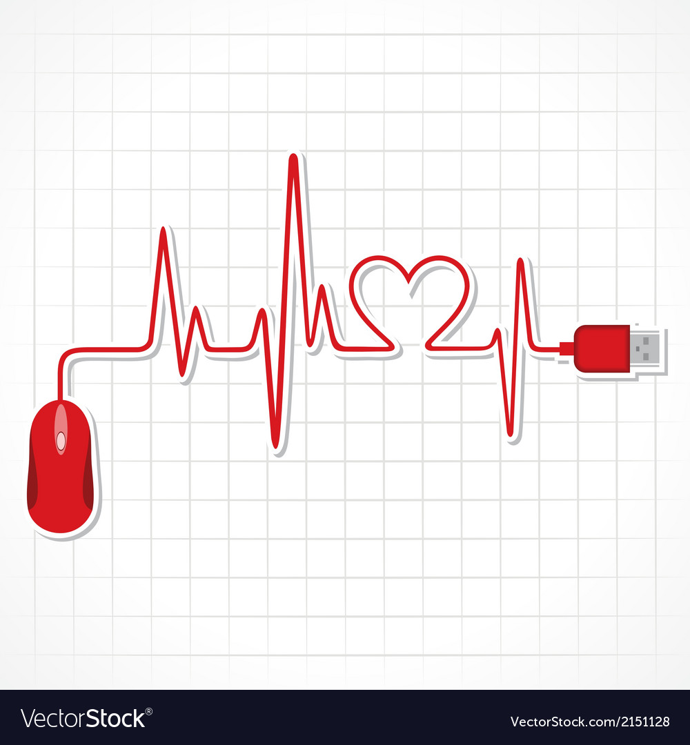 Heartbeat with mouse and laptop vector | Price: 1 Credit (USD $1)