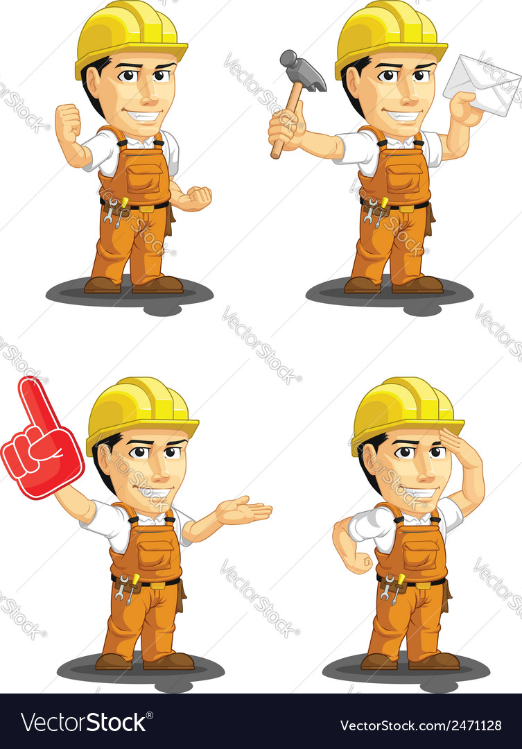 Industrial construction worker mascot 9 vector | Price: 1 Credit (USD $1)