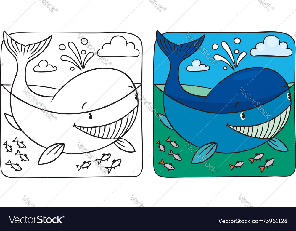 Little whale coloring book vector   Price: 1 Credit (USD $1)
