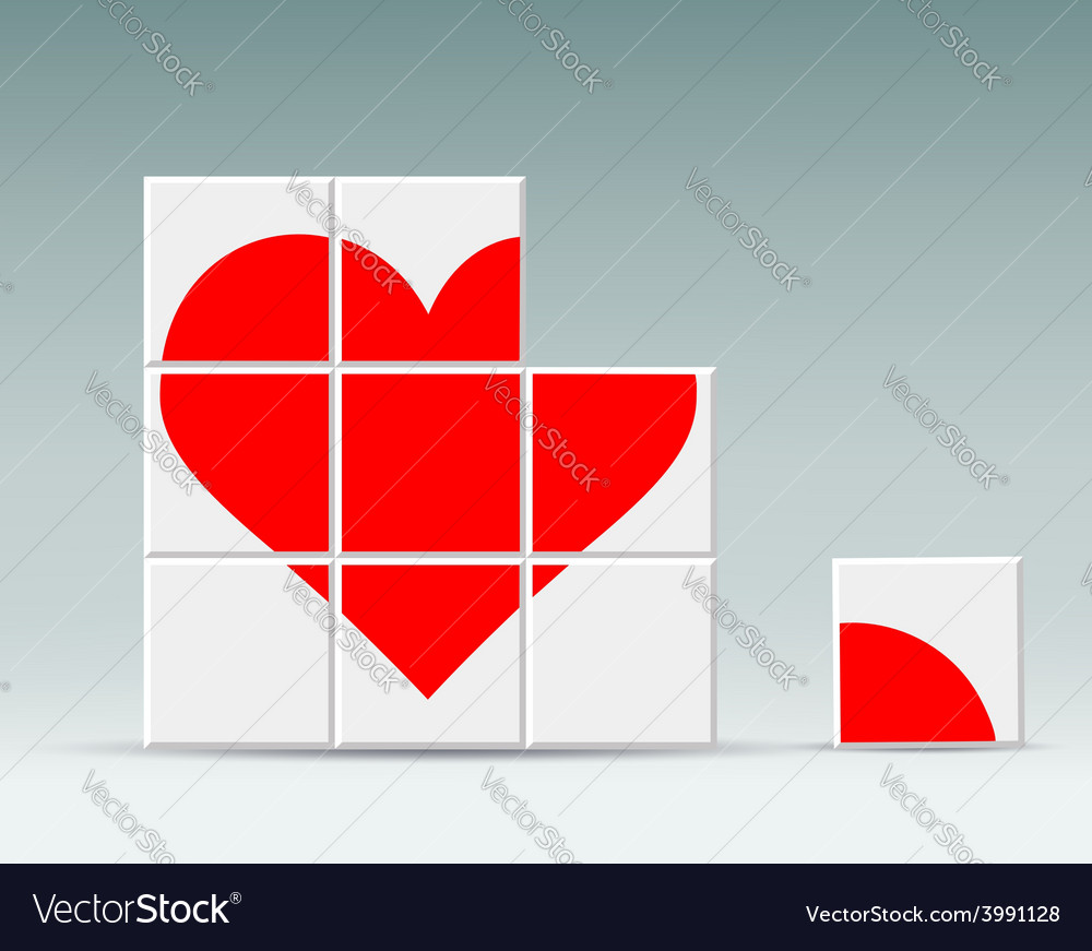 Red heart folded cubes vector | Price: 1 Credit (USD $1)