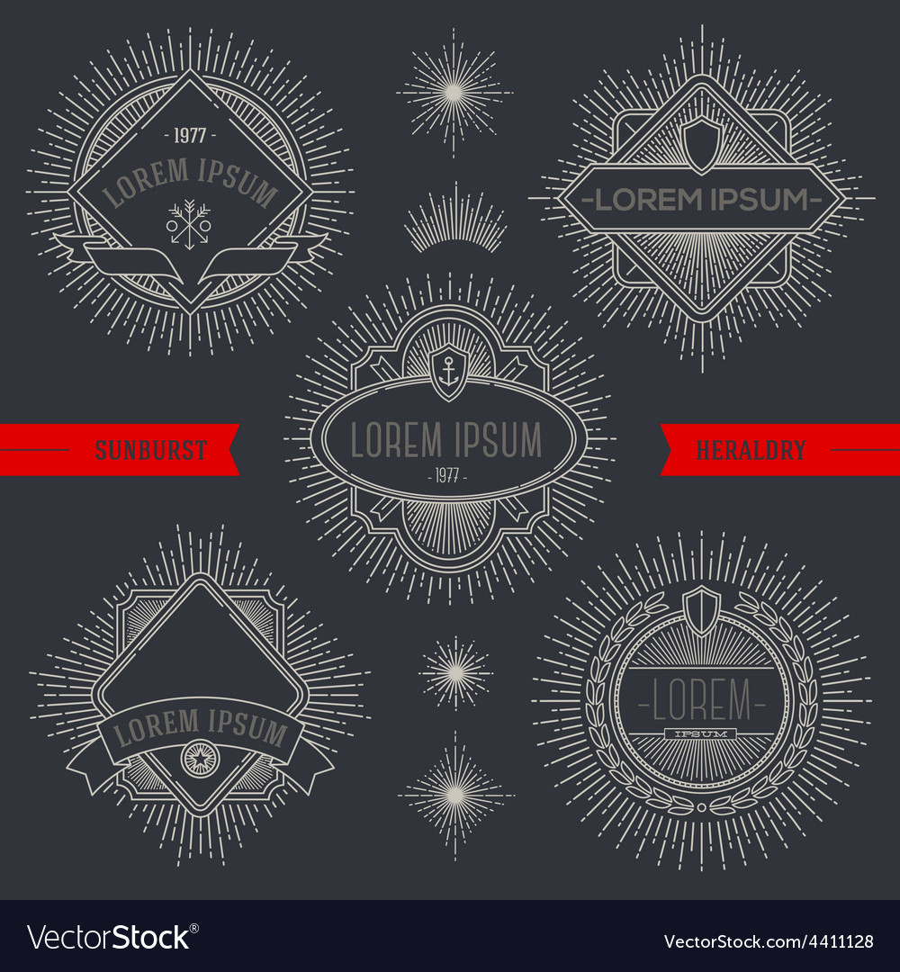 Set of line heraldic emblems and labels with vector | Price: 1 Credit (USD $1)