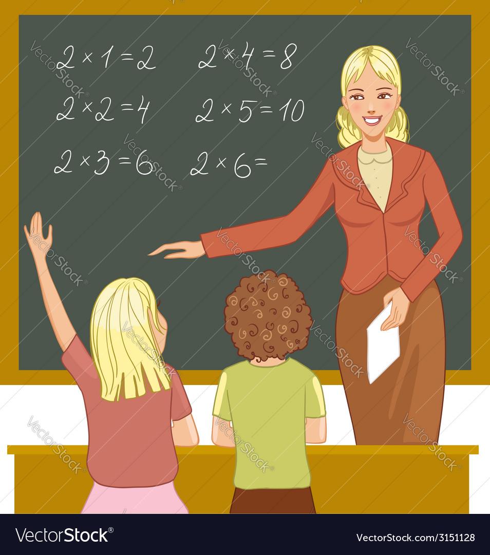 Teacher at blackboard explains children vector | Price: 1 Credit (USD $1)
