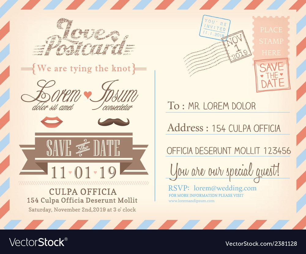 Vintage airmail postcard wedding background vector | Price: 1 Credit (USD $1)