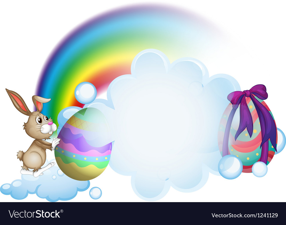 A bunny and the easter eggs near the rainbow vector | Price: 1 Credit (USD $1)