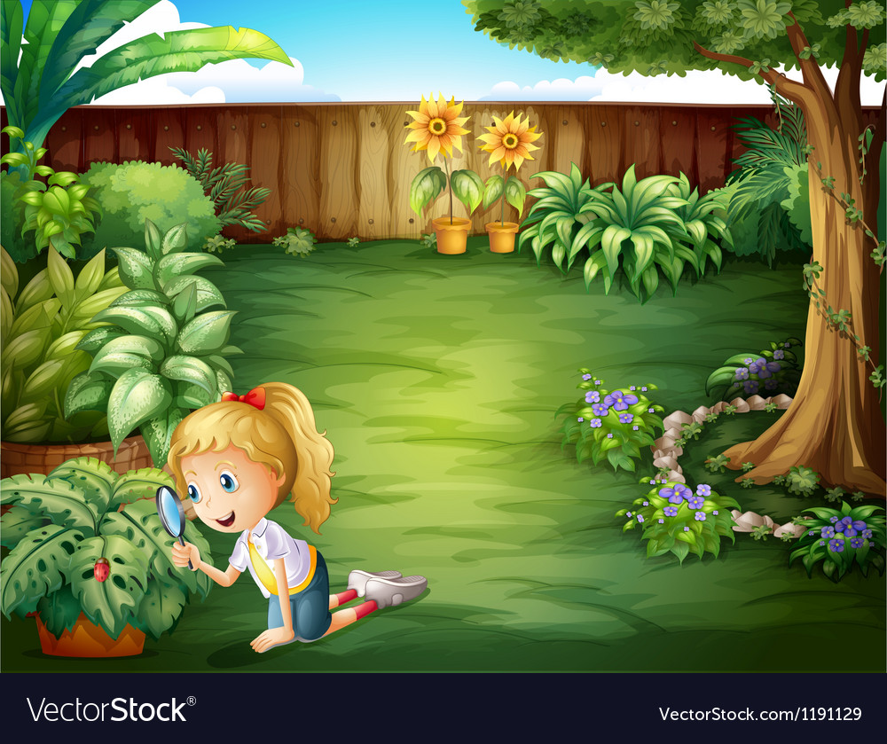 A girl studying the plants in the garden vector | Price: 1 Credit (USD $1)