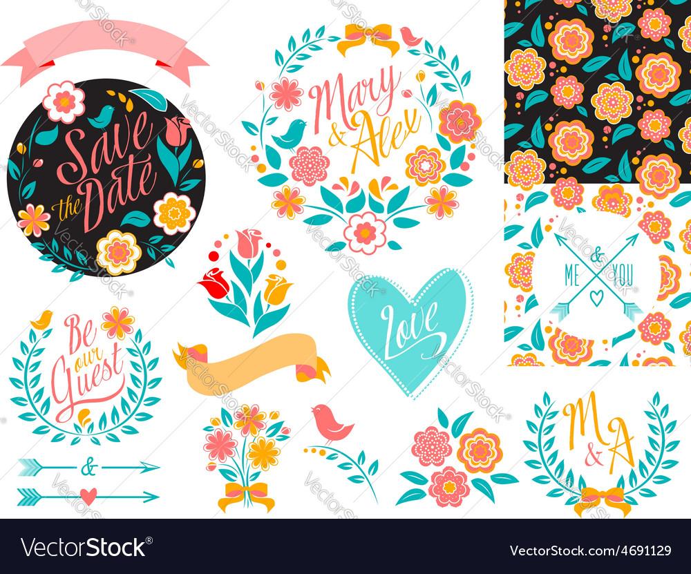 Big wedding graphic set arrows hearts laurel vector | Price: 1 Credit (USD $1)