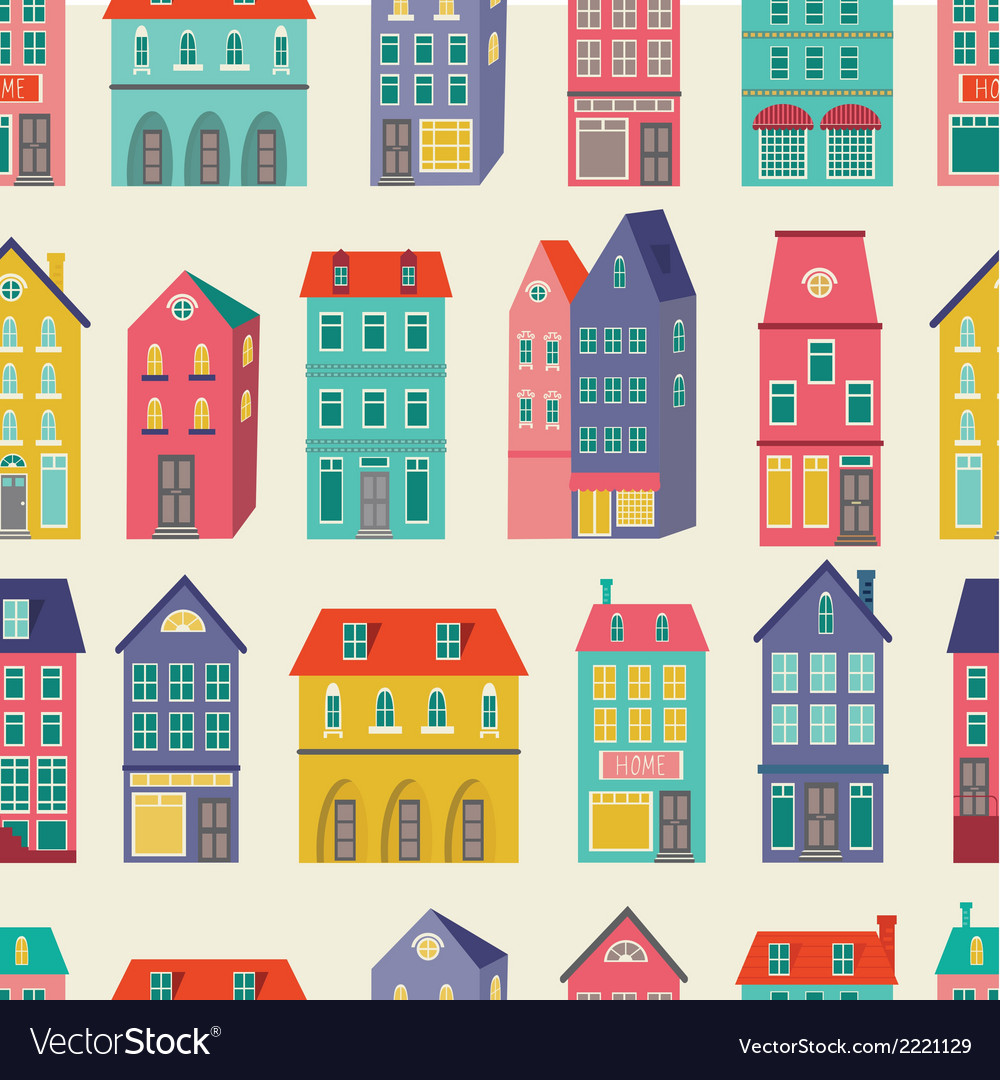Colorful city pattern vector | Price: 1 Credit (USD $1)