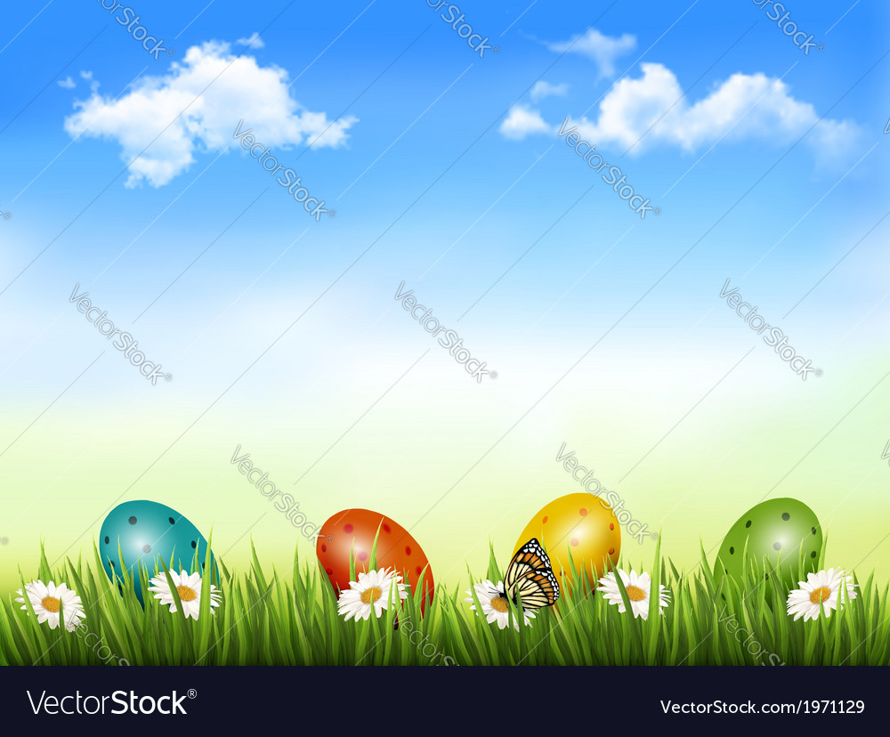 Easter background easter eggs laying in green vector | Price: 1 Credit (USD $1)