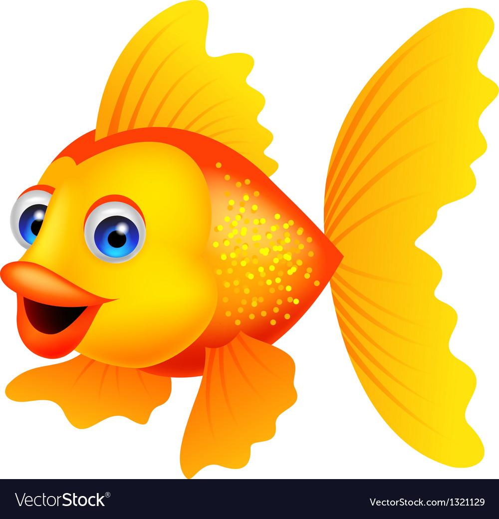 Golden fish cartoon vector