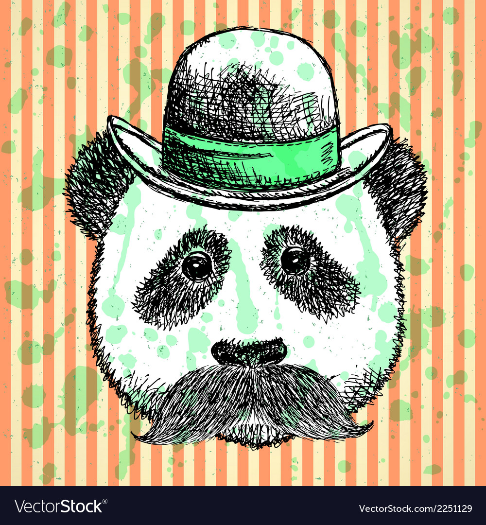 Hat panda mustache vector | Price: 1 Credit (USD $1)