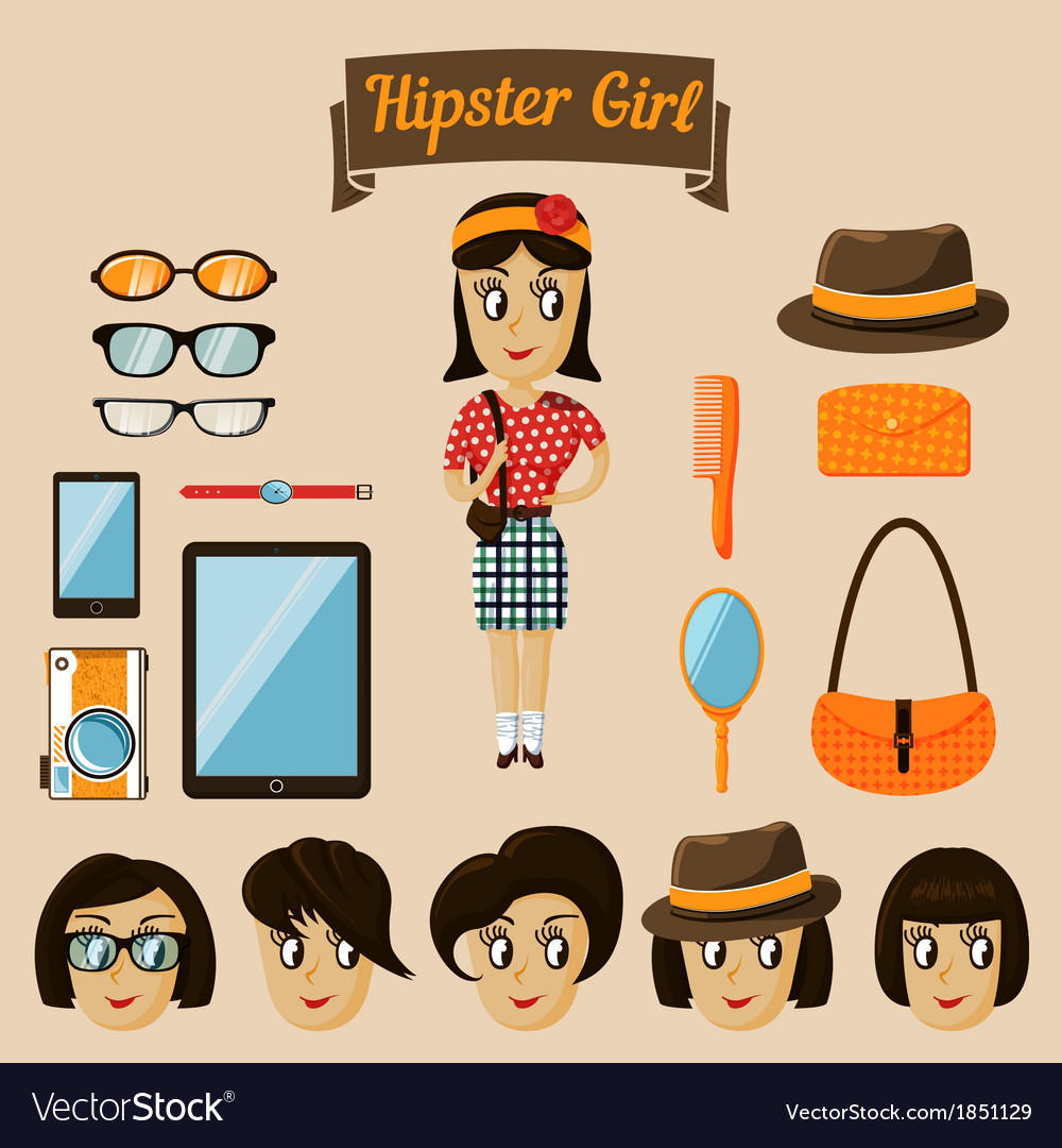 Hipster character elements for nerd woman vector | Price: 1 Credit (USD $1)