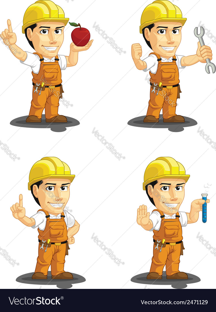 Industrial construction worker mascot 10 vector | Price: 1 Credit (USD $1)
