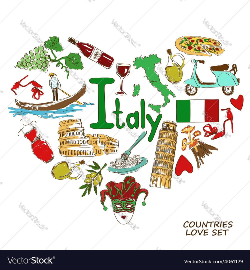 Italian symbols in heart shape concept vector | Price: 1 Credit (USD $1)