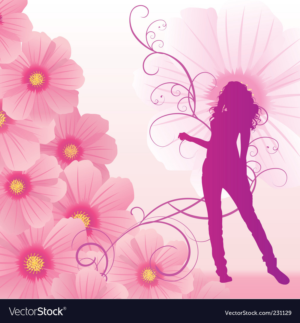 Pink cosmos flowers girl dance vector | Price: 1 Credit (USD $1)