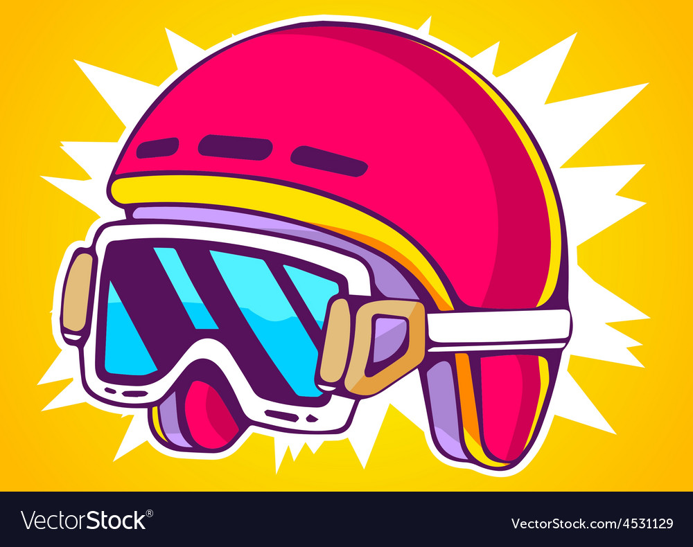 Red fashion helmet on yellow background vector | Price: 1 Credit (USD $1)