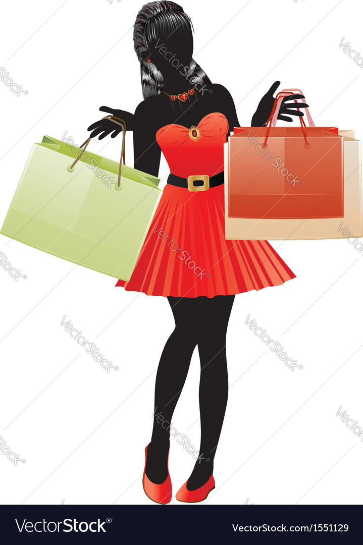 Shopping girl in red dress silhouette vector | Price: 1 Credit (USD $1)