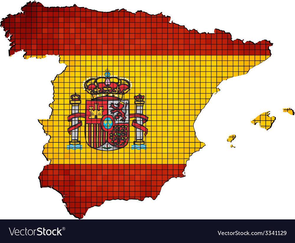 Spain map with flag inside vector | Price: 1 Credit (USD $1)
