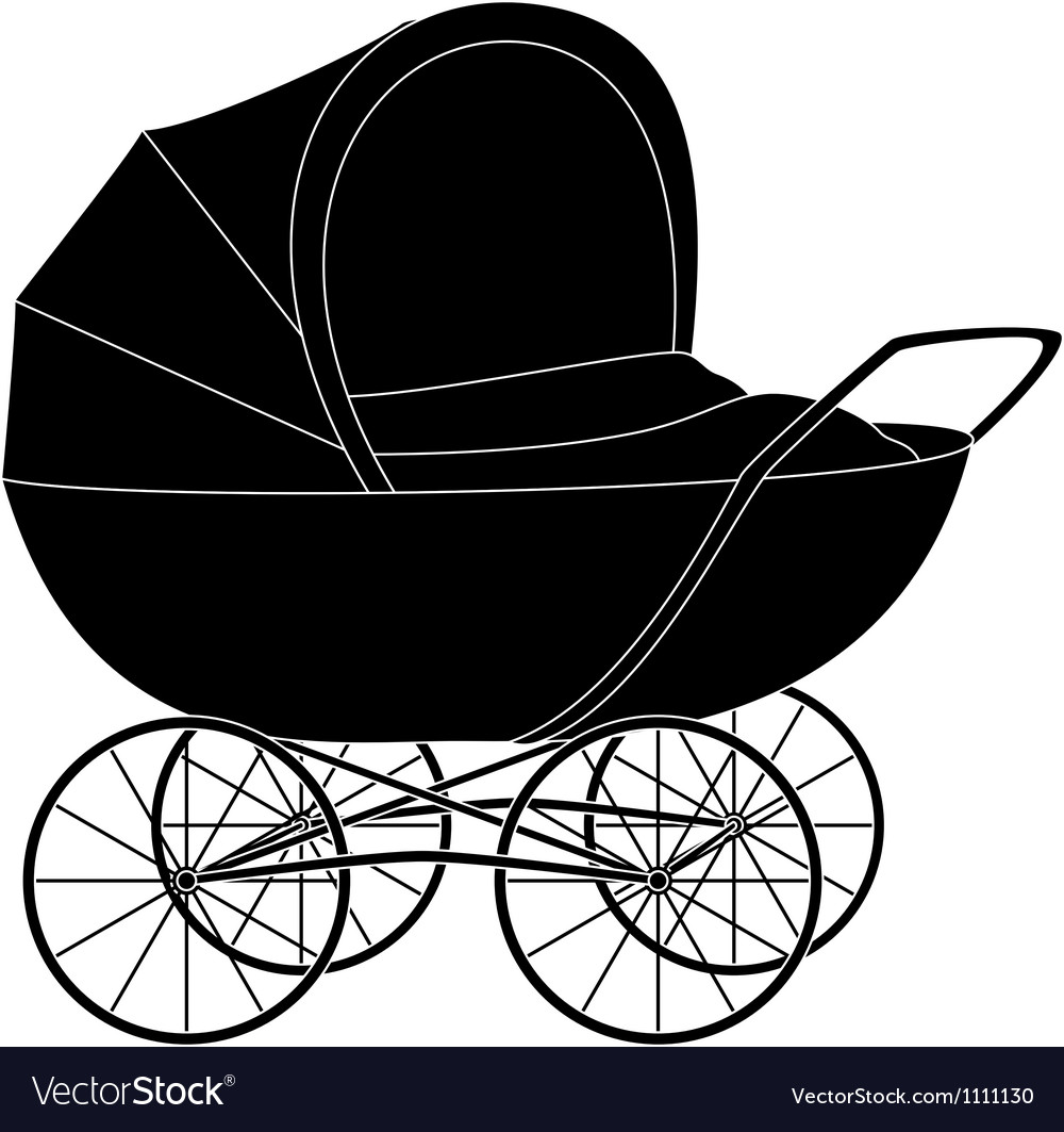 Baby pram black silhouette vector | Price: 1 Credit (USD $1)