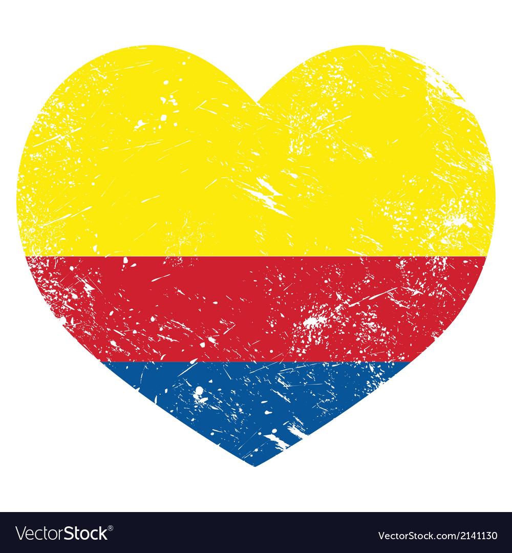 Columbia retro heart shaped flag vector | Price: 1 Credit (USD $1)