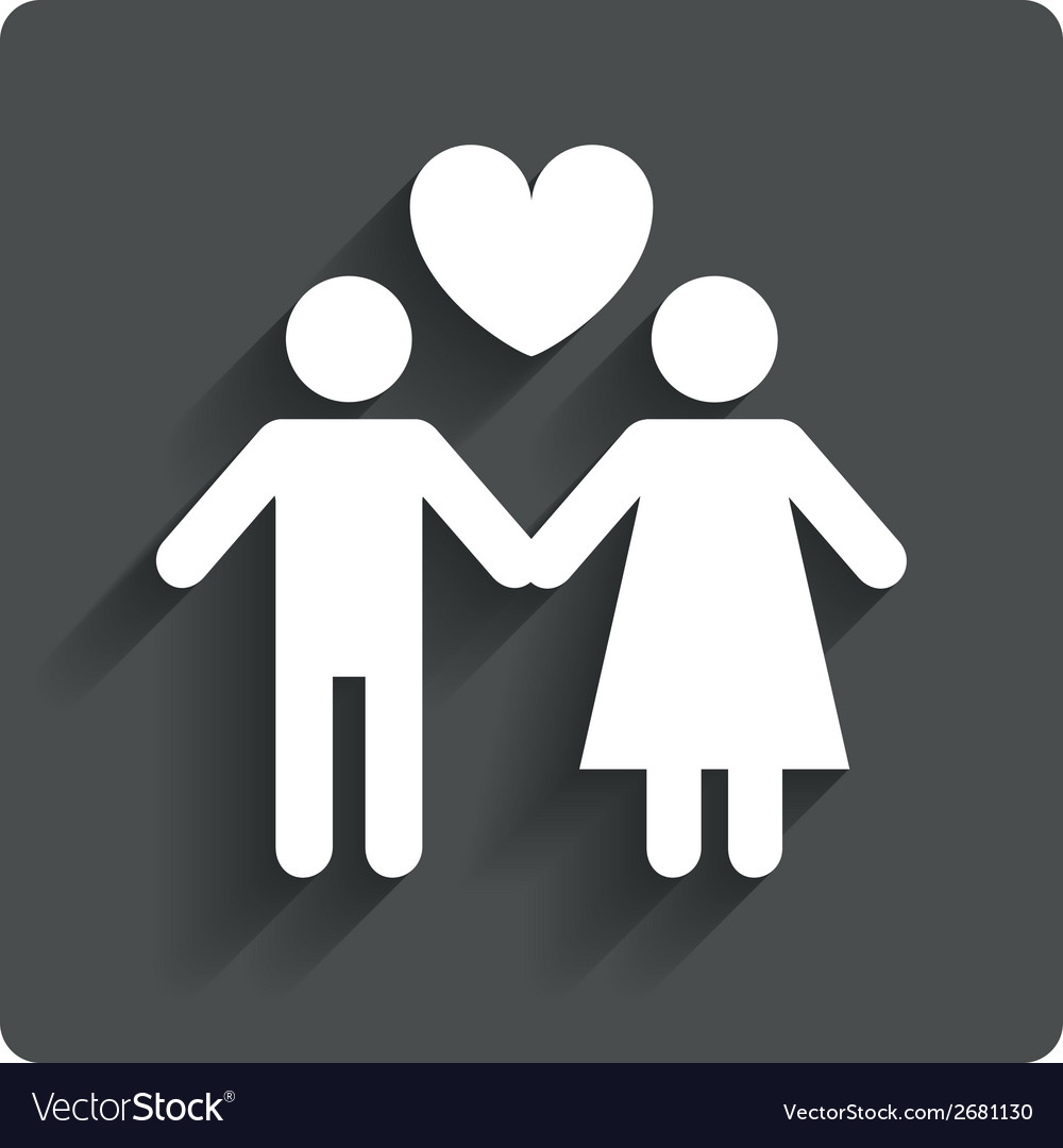 Couple sign icon male love female lovers vector | Price: 1 Credit (USD $1)