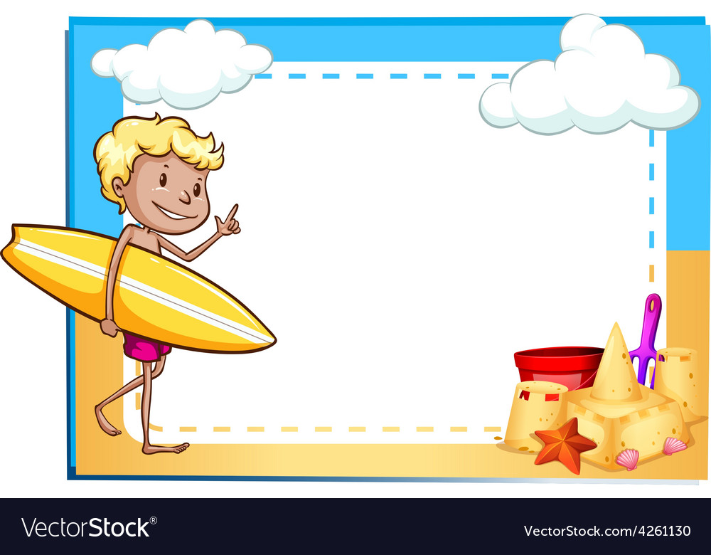 Frame showing a boy at the beach vector | Price: 1 Credit (USD $1)