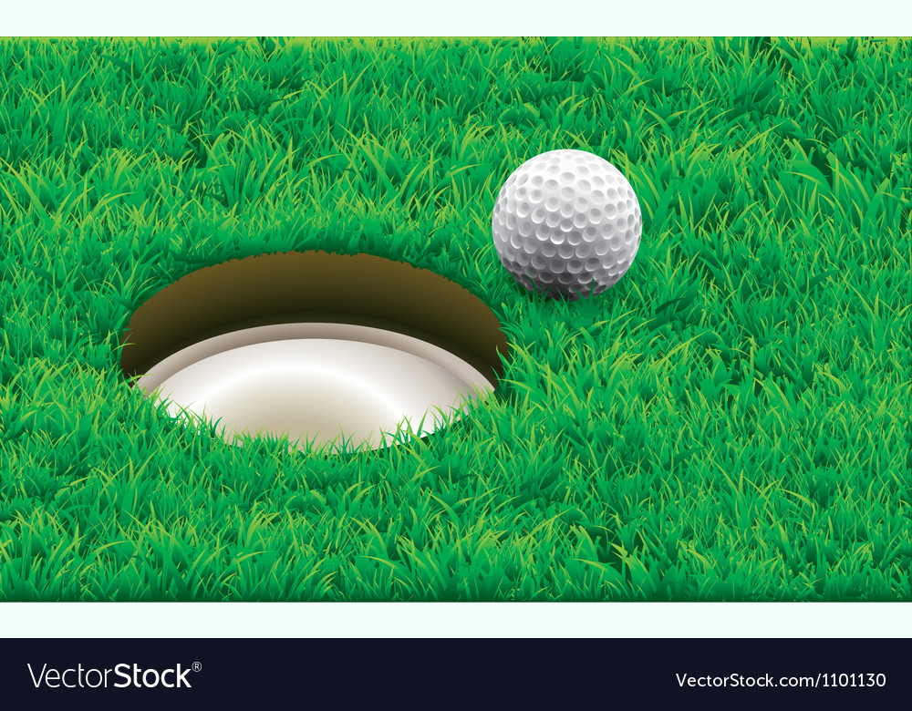 Golf ball on a tee simple golf background vector | Price: 1 Credit (USD $1)