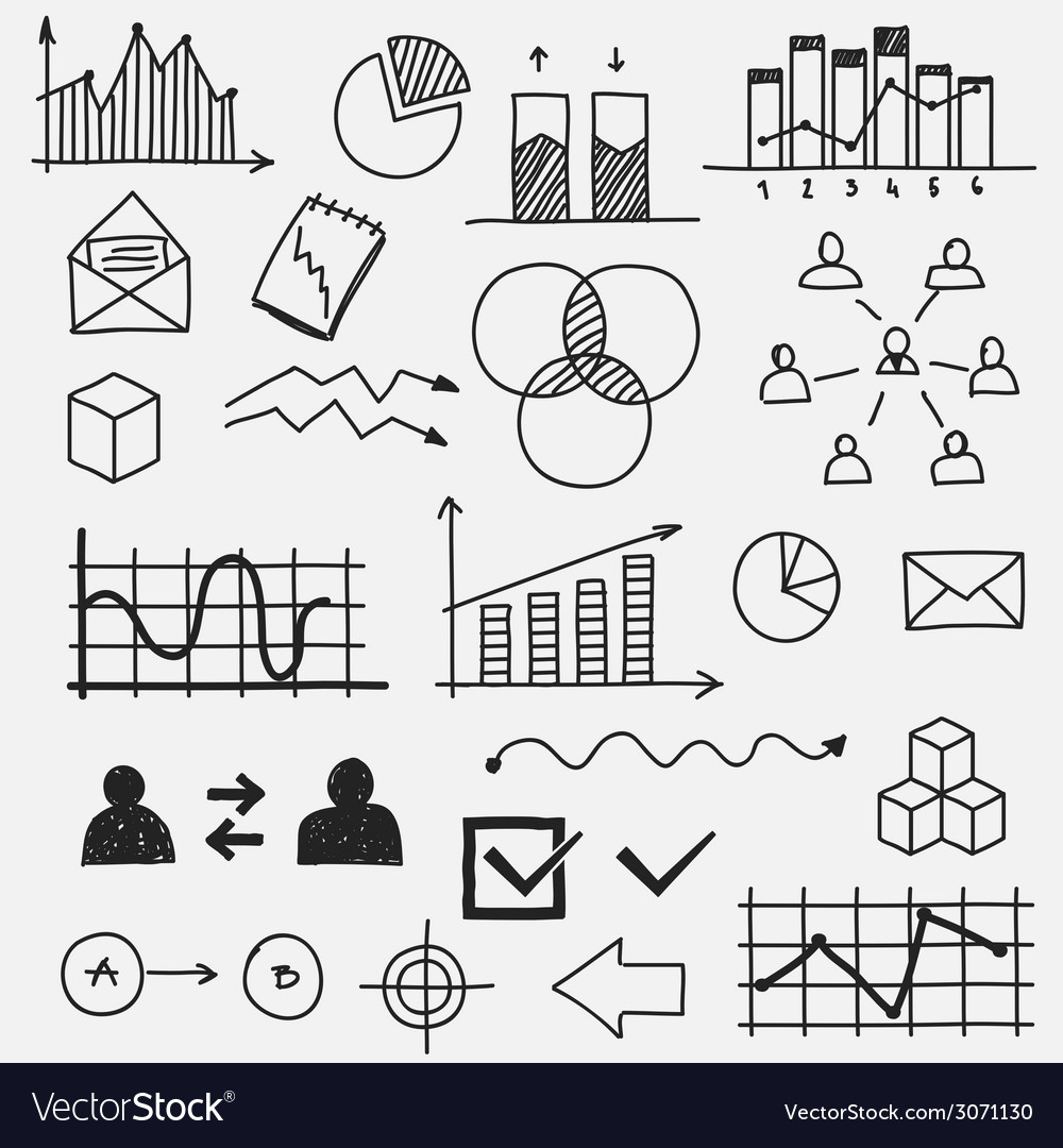 Hand drawn business doodle sketches elements vector | Price: 1 Credit (USD $1)