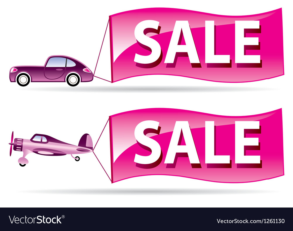 Sale flyer coming by car and airplane vector | Price: 1 Credit (USD $1)