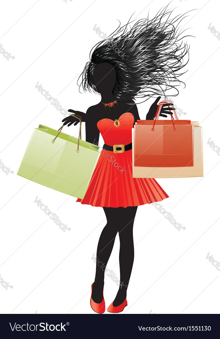 Shopping girl in red dress silhouette2 vector | Price: 1 Credit (USD $1)
