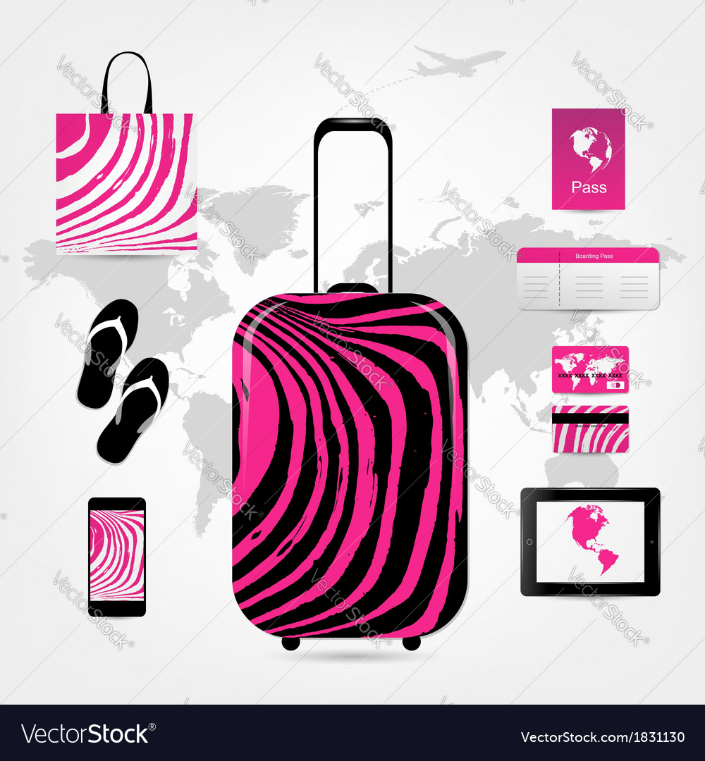 Travel suitcase with set of icons pink zebra style vector