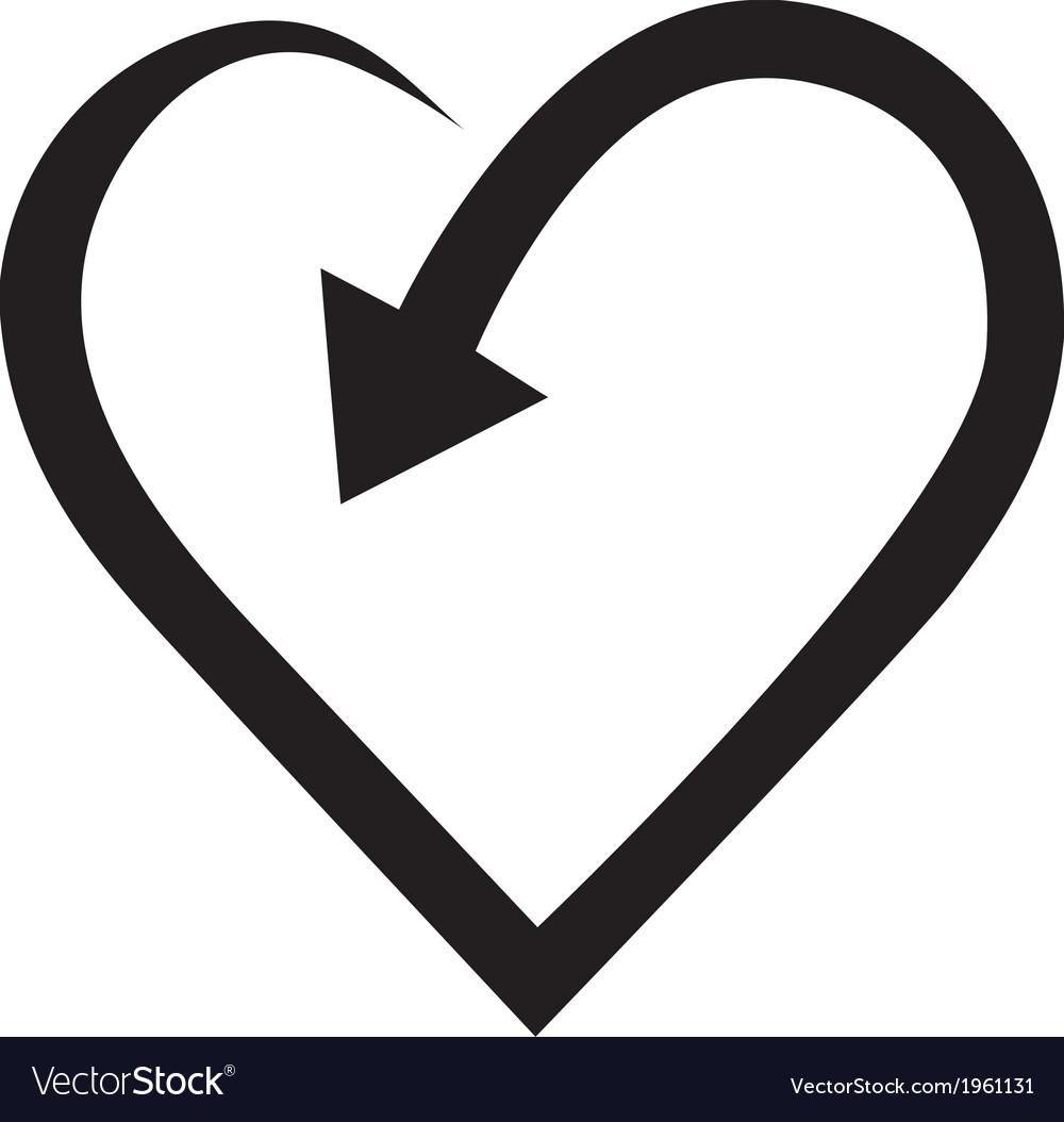 Arrow in heart shape vector | Price: 1 Credit (USD $1)