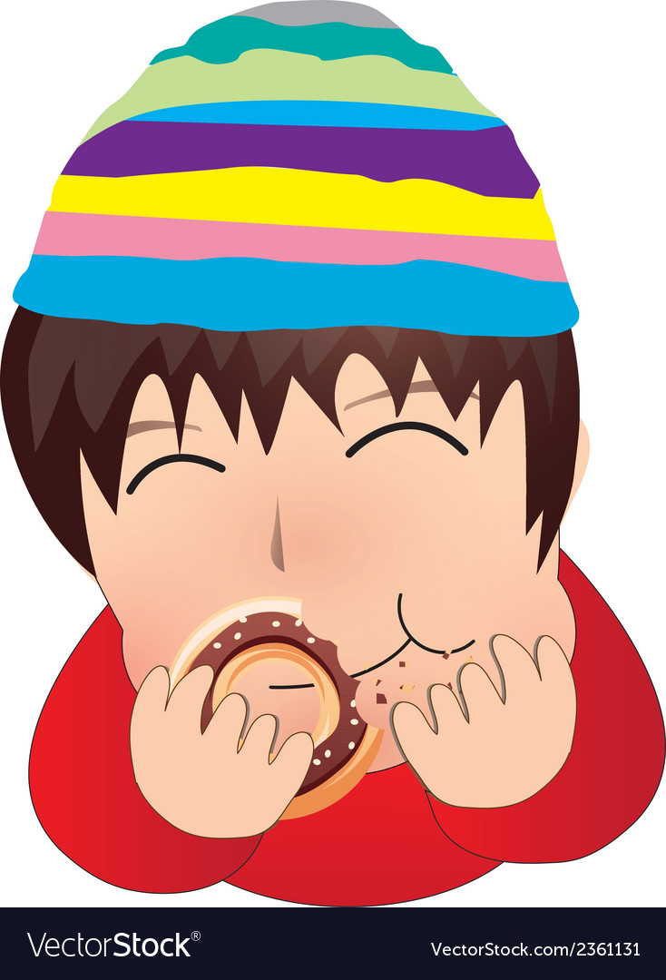 The boy eat doughnut cartoon vector | Price: 1 Credit (USD $1)