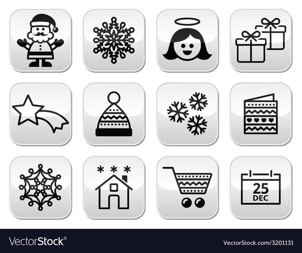 Christmas xmas celebrate buttons set vector | Price: 1 Credit (USD $1)