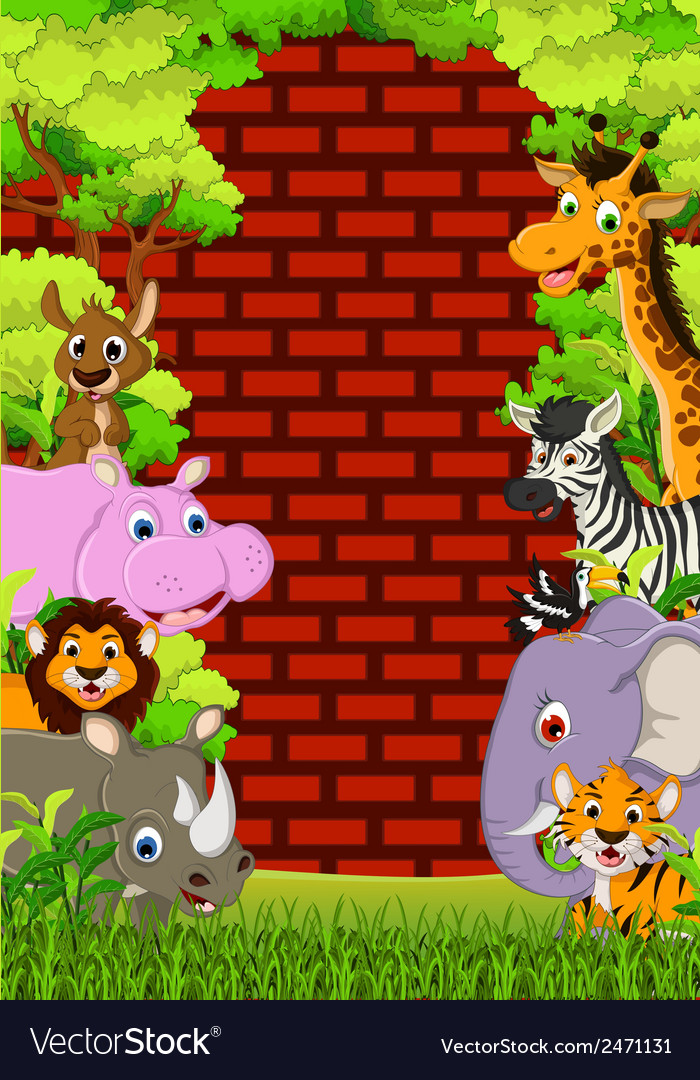 Cute animal wildlife cartoon vector | Price: 1 Credit (USD $1)