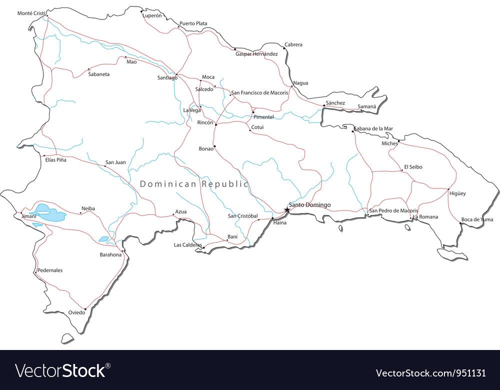 Dominican republic black white map vector   Price: 1 Credit (USD $1)