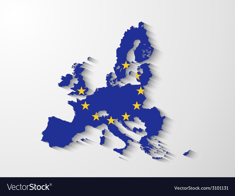 European union map with shadow effect vector | Price: 1 Credit (USD $1)