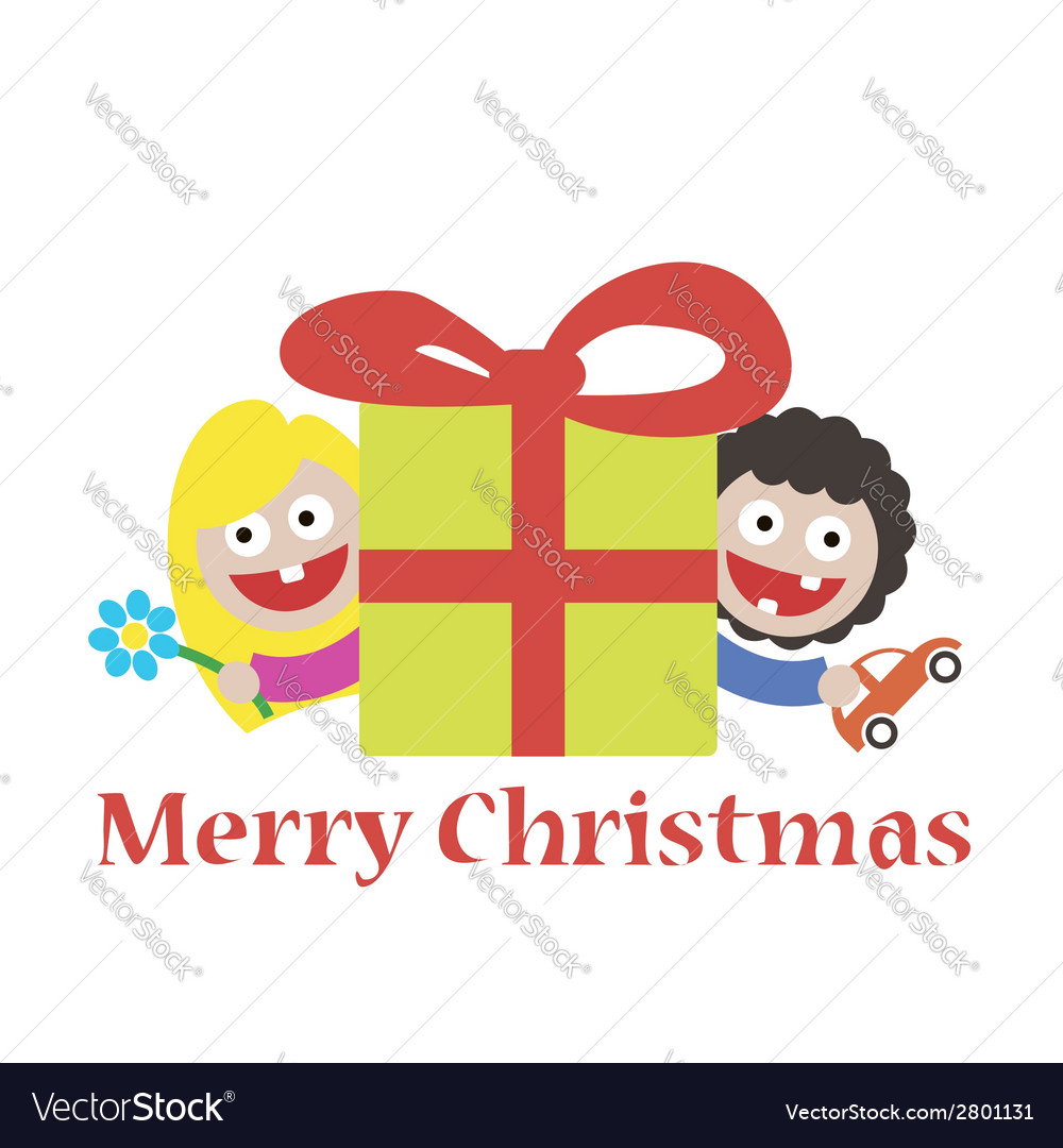 Girl and boy merry christmas gift vector | Price: 1 Credit (USD $1)