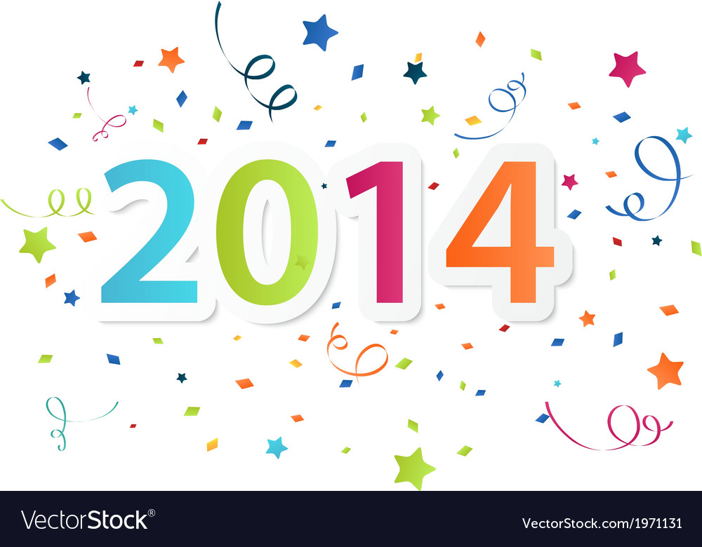 Happy new year 2014 with colorful celebration back vector | Price: 1 Credit (USD $1)