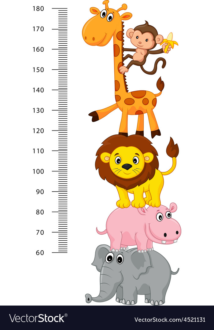 Meter wall with funny cheerful animals vector | Price: 1 Credit (USD $1)