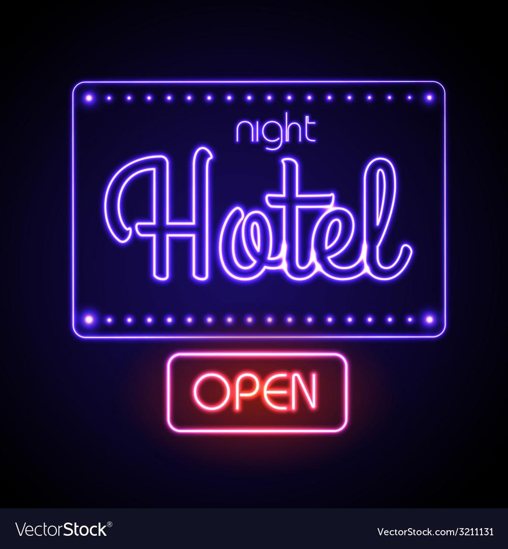 Neon sign night hotel vector | Price: 1 Credit (USD $1)