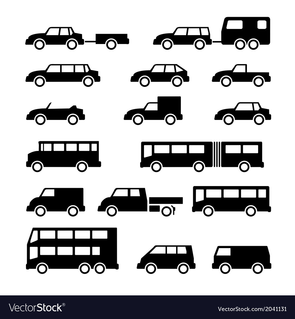 Set icons of car and bus vector | Price: 1 Credit (USD $1)