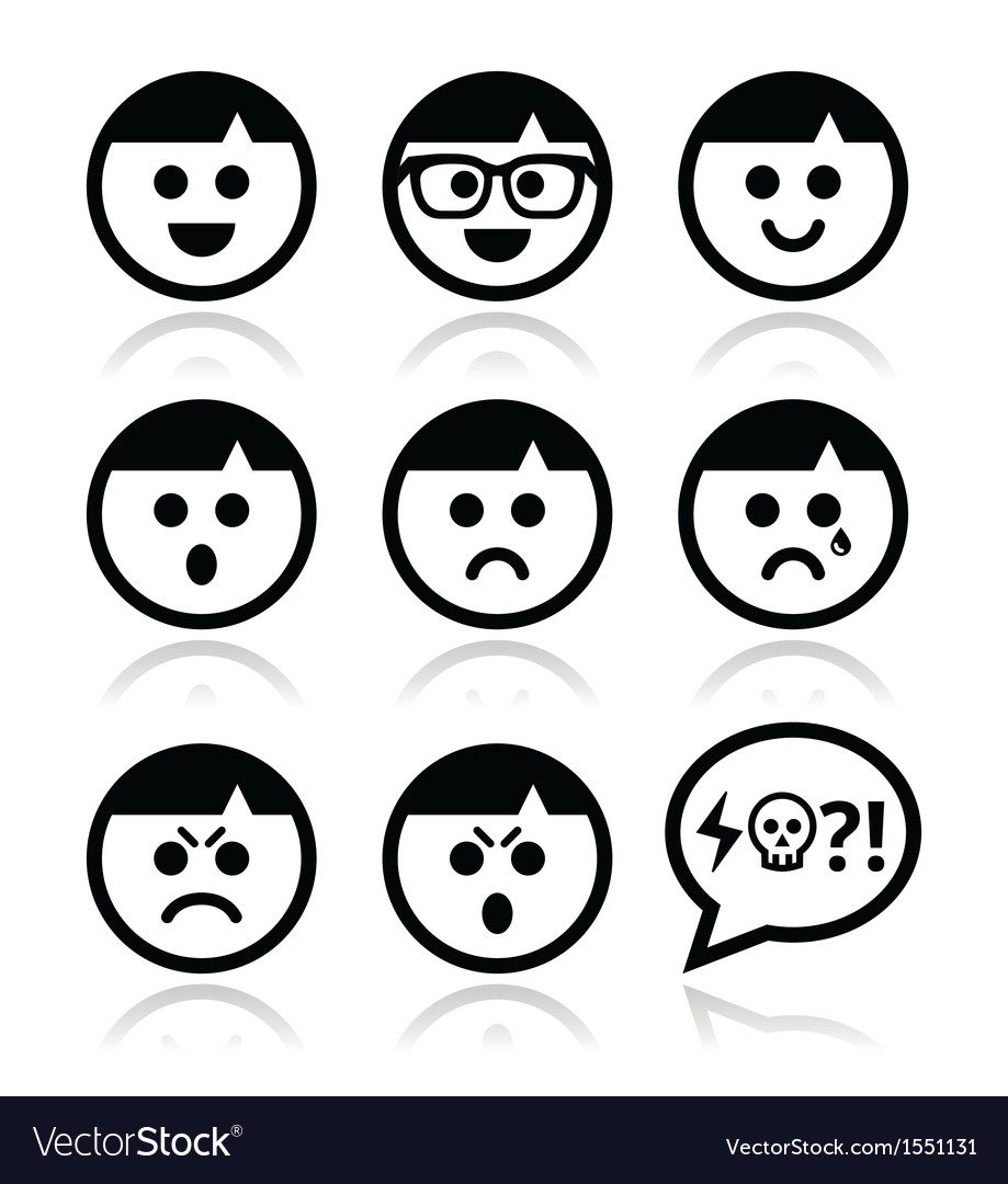 Smiley faces avatar icons set vector | Price: 1 Credit (USD $1)