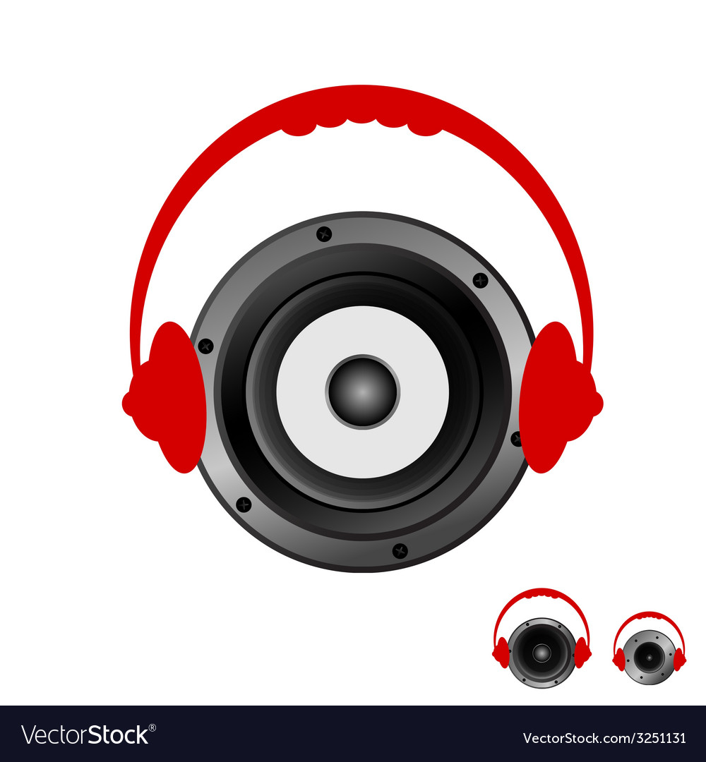 Speaker with headphones vector | Price: 1 Credit (USD $1)