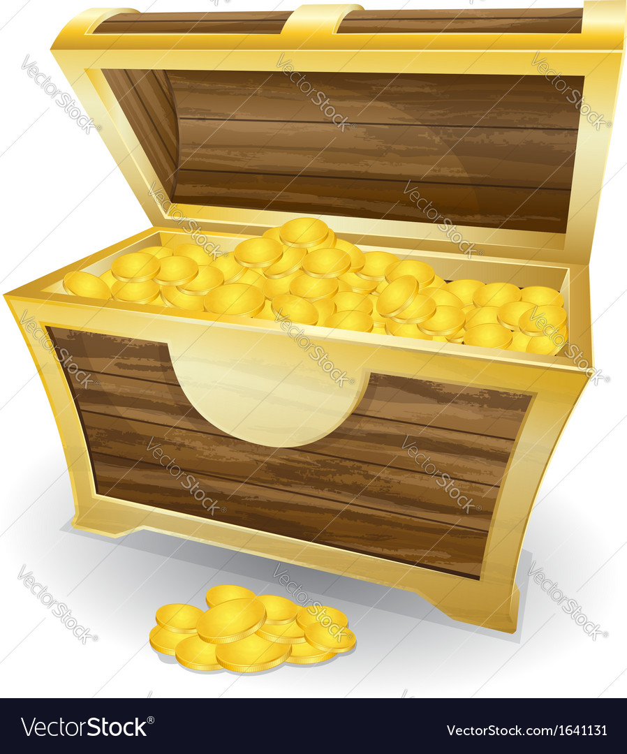 Treasure chest with gold coin vector | Price: 1 Credit (USD $1)