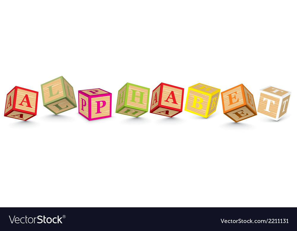 Word alphabet written with alphabet blocks vector | Price: 1 Credit (USD $1)