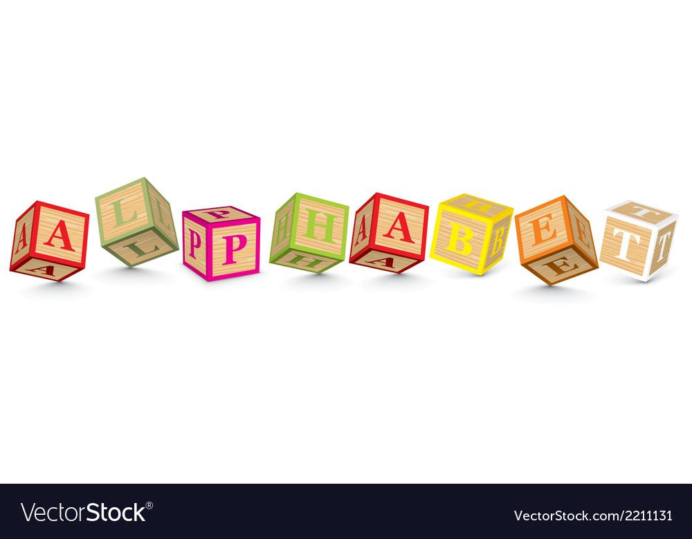 Word alphabet written with alphabet blocks vector | Price: 1 Credit (USD $1)
